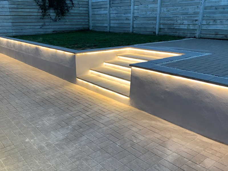 Bespoke garden step lighting, steps illuminated with concealed LED strip lights