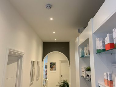 interior recessed ceiling spotlights in a beauty salon